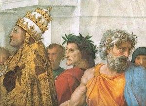 Dettaglio Dante in Disputa del Santissimo Sacramento