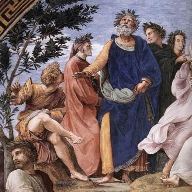 Dettaglio Dante e Omero in Parnaso