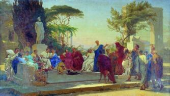 Orazio legge davanti al circolo di Mecenate, dipinto di Stefano Bakalovich, 1863
