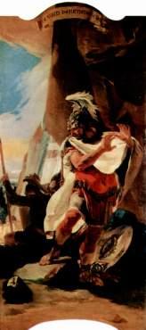 Annibale ritrova il capo mozzato del fratello Asdrubale, ucciso dai Romani, affresco di Giovambattista Tiepolo, 1725-1730 ca, Vienna, Kunsthistorisches Museum