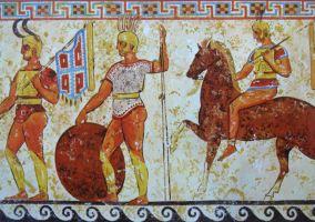 Soldati sanniti, da un fregio tombale di Nola. IV secolo a.C.