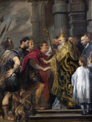 L'imperatore Teodosio e sant'Ambrogio, dipinto di Van Dyck, Palazzo Venezia, Roma. Sant'Ambrogio rifiuta l'ingresso in chiesa all'imperatore