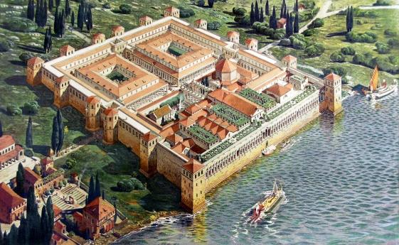 Ricostruzione del Palazzo di Diocleziano a Spalato al momento del suo completamento nel 305, da Ernest Hébrard