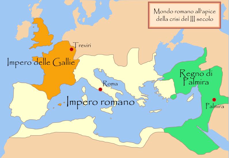 Il regno di Palmira sotto Zenobia, al suo massimo apogeo, dopo l'espansione del 270, prima dell'inizio della riconquista di Aureliano (271)