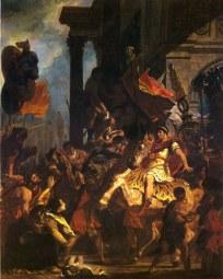 Eugène Delacroix, La giustizia di Traiano, che raffigura il celebre aneddoto della vedova a cui avevano ucciso il figlio