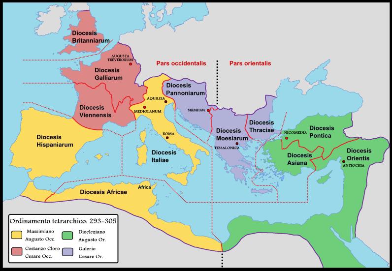 """La """"prima tetrarchia"""" (293-305): le 12 diocesi nella nuova divisione dell'impero romano"""