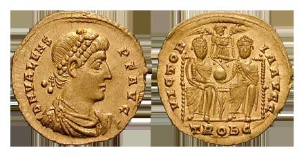 Un solidus coniato da Valente intorno al 376. Sul rovescio, i due imperatori tengono insieme il globo crucifero, simbolo del potere