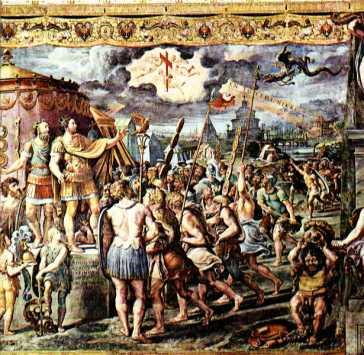 Apparizione della croce, Raffaello Sanzio; la croce e la scritta ἐν τούτῳ νίκα appaiono a Costantino I