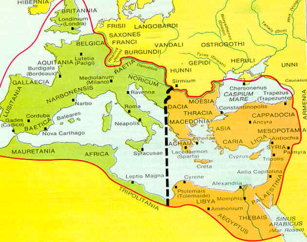 Impero Romano d'Occidente (verde) e Impero Romano d'Oriente (oro) nel 405