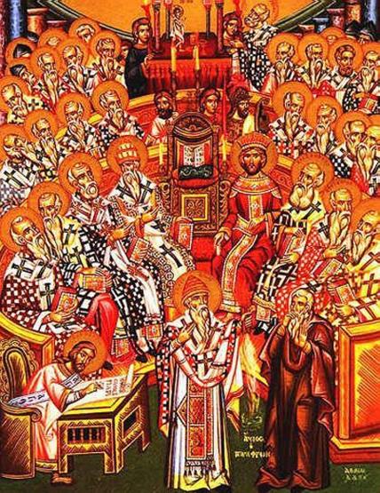 Il primo Concilio di Nicea in un'icona ortodossa