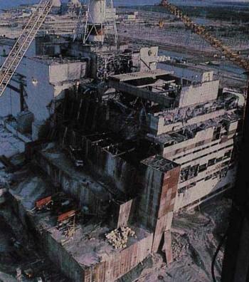 Reattore n°4 di Chernobyl poche ore dopo l'incidente