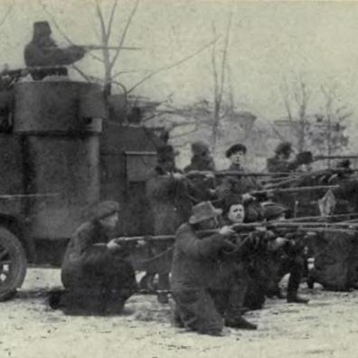 Truppe bolsceviche impegnate in combattimento durante la guerra civile