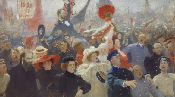 Numerose manifestazioni si ebbero durante i tumulti del 1905, alle quali aderirono anche intellettuali e borghesi; e questa, vista dal pittore Ilja Repin, è la manifestazione del 17 ottobre