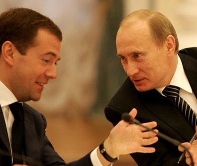 Vladimir Putin e Dmitrij Medvedev nel 2008