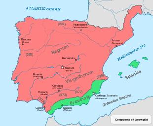 Regno Visigoto alla morte di Leovigildo (586), indicando le sue campagne militari. In verde i territori governati dai Bizantini.