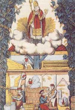 Sant'Arnolfo di Metz raffigurato come protettore dei produttori di birra