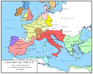 Impero di Teodorico - La mappa mostra i regni germanici nel 526, l'anno in cui morì Teodorico. Oltre all'Italia, la Dalmazia e la Provenza, regnò anche sui Visigoti