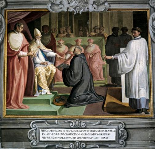 La donazione di Pipino III al papa Stefano II, avvenuta a Quierzy, nel 754.