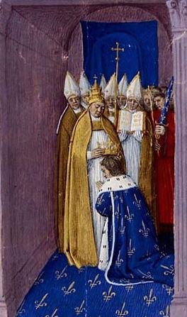 Incoronazione di Pipino III secondo il pittore e miniaturista Jean Fouquet (secolo XV)