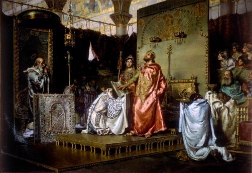 Conversione di Recaredo I, opera del tardo ottocento, del pittore valenzano, Muñoz Degrain, Palazzo del Senato di Madrid.